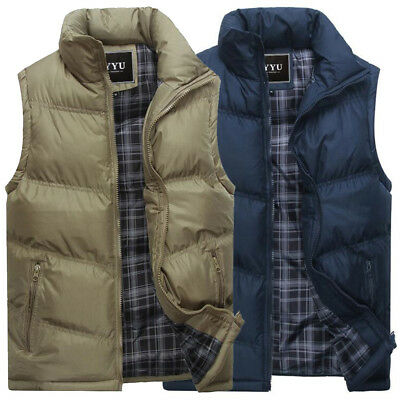 Mens outdoor Stand collar Sleeveless Casual Down cotton Jacket Thick Waistcoat