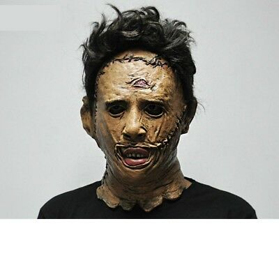 Halloween Leatherface Texas Chainsaw Scary Face Mask Hair Costume Adult Horror