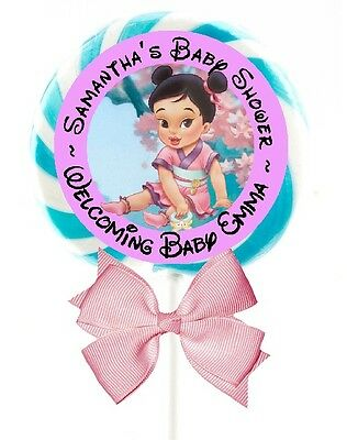 "Baby Mulan Lollipop Round Shower Party Stickers Favors Labels 1.5"", 2"", 2.5"""