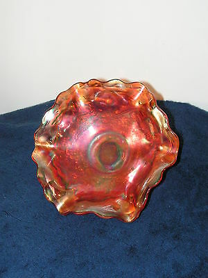 A Vintage, Irridescent Orange Carnival Glass Bowl, Marigold, Thorn And Thistle