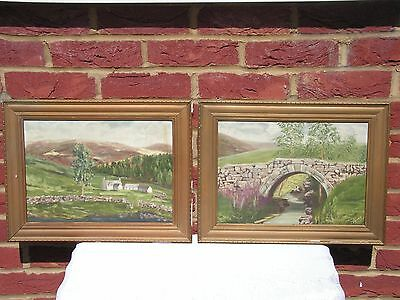 "A Pair Of Vintage, Oil-On-Board, Landscape Paintings, Signed ""J. Harvey""."
