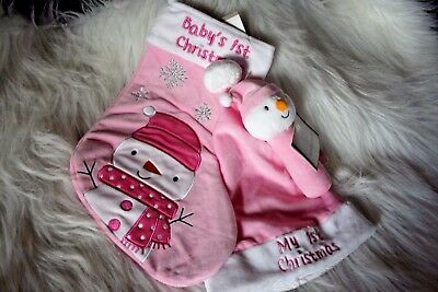 Baby's 1st Christmas Pink Stocking with Hat and Rattle!  (3 piece set )