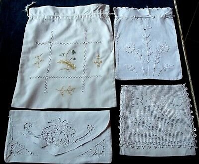 4 Vintage Cotton Embroidered Handkerchief Cases Toiletry Lingerie Bags Envelope