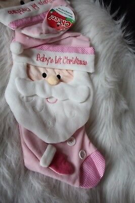 Baby's 1st Christmas Pink Stocking and hat set!