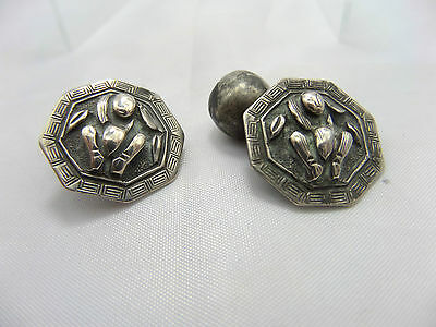 Antique Chinese Buddha  Buttons -cufflinks with Bells Qing Era