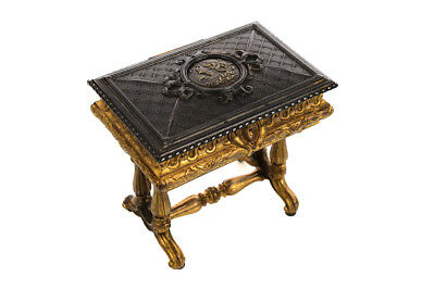 19th century Antique Gilt Bronze Jewelry Box- Miniature Sawing Box
