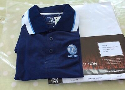 Taylor Bowls Caledonia Bowling Polo Shirt - Small - Navy with White Trim