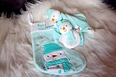 Baby's 1st Christmas Stocking 3 piece set!  Teal in color!