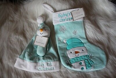 Baby's 1st Christmas Stocking and hat and rattle 3 piece set!  Teal in color!