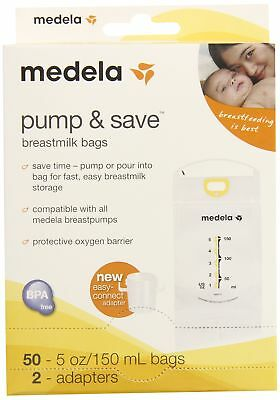 Pump Save Breast Milk Bags 50 Count Compatible Easy Connect Freeze Storage Fast