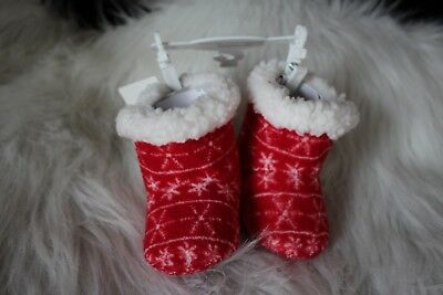 Baby's  Christmas Booties!  So soft!