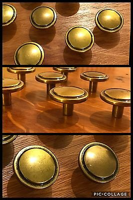 7 Knobs Pulls Round Antique Brass Tone Drawer Cabinet Amerock Retro Vintage