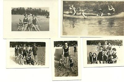 "Vintage 1930's/1940's Photograph Lot of Five ""Swimsuit Fun"""