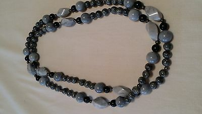 Vintage Polished Granite Bead Necklace/Grey,Black & Silver Tone Beads