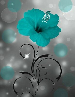 Teal Gray Floral Home Decor Bedroom, Living Room Teal Matted Wall Art Picture