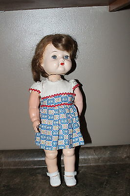 "Vintage Reliable Walker Type Doll Canada Sleep Eyes Glued on Wig 14 1/2"" tall"