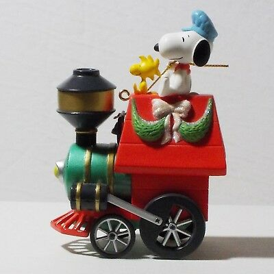 Snoopy Hallmark Christmas Ornament All Aboard for Holiday fun with box train