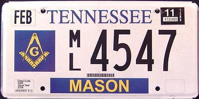 "TENNESSEE "" FREEMASON "" TN Specialty Graphic License Plate"