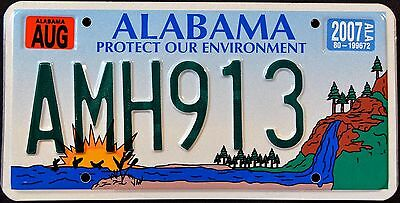 "ALABAMA ' ENVIRONMENT - WATERFALL "" AL Specialty Graphic License Plate"