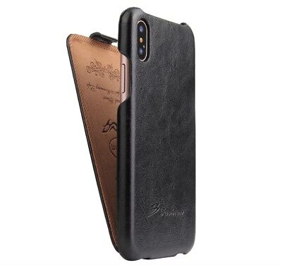 Authentic Fashion Brand for New Apple Iphone X Black Leather Flip Cover Case