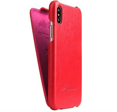 Authentic Fashion Brand for New Apple Iphone X Red Leather Flip Cover Case