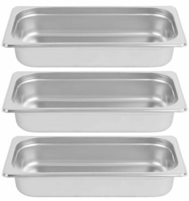"""3 PACK 1/3 SIZE Stainless Steel 2 1/2"""" Deep Chafing Dish Chafer Pan Inserts ONLY"""