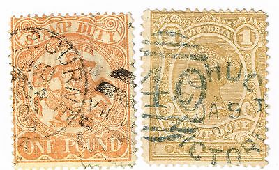 1879 Victoria One Penny & One Pound Used Duty Stamps