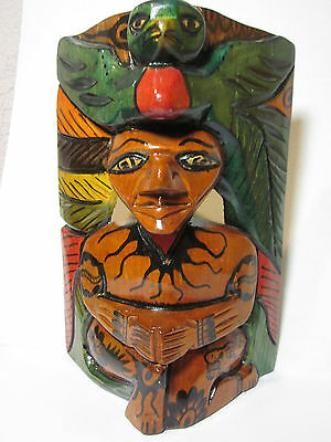 """Indian Chief w/ Bird Feather Headdress 10"""" Wooden Mask Hand Carved Vintage Rare"""