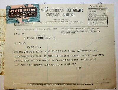 1929 Newfoundland Anglo-American Telegraph Cable Claim Issue Advertising