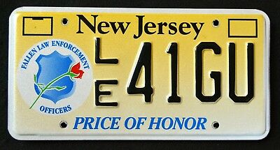 "NEW JERSEY "" FALLEN POLICE OFFICERS - HONOR "" NJ Specialty License Plate"