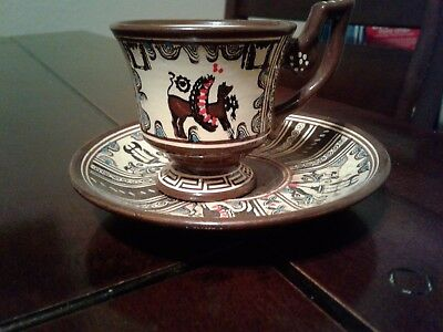 Vintage Greek tea cup and saucer (4) good condition. $80.00
