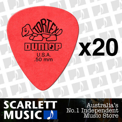 20 x Jim Dunlop Tortex Standard .50mm Red Picks Plectrums 0.50 *TWENTY PICKS*