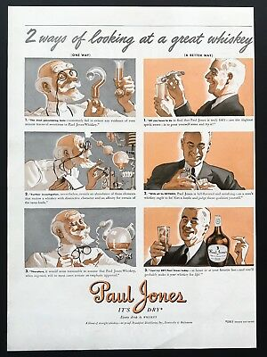 1939 Vintage Print Ad PAUL JONES Whiskey Illustration Chemistry