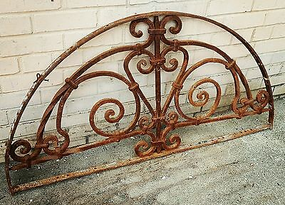 Antique Cast Wrought Iron Arched 1/2 moon Window Guard Grate