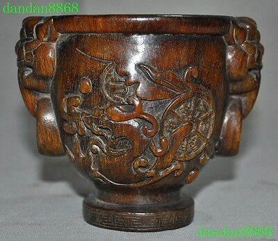 """5""""Old Chinese Ox horn Hand carved Dragon beast Pixiu head Statue Wine vessel Cup"""