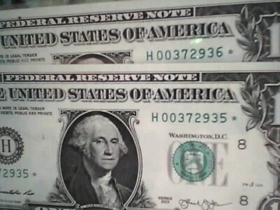 2 $1 Uncirculated 2013 Consecutive Numbered U.s. Star Notes