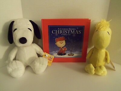 "NWT Peanuts Gang 15"" Soft Plush SNOOPY Dog & Hardcover Christmas Book - Kohl's"