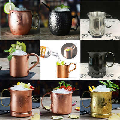 Handmade Pure Copper/Stainless Steel Moscow Mule Mug Glass Cup Bar Wine Beer