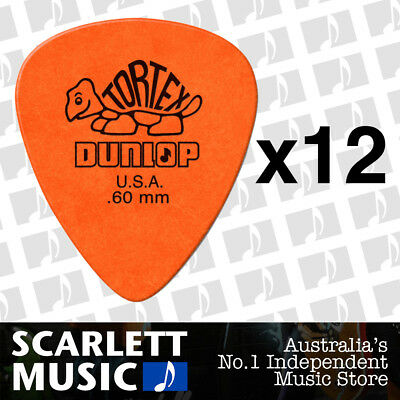 12 x Jim Dunlop Tortex Standard .60mm Orange Picks Plectrums .60 *TWELVE PICKS*