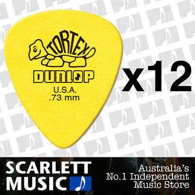 12 x Jim Dunlop Standard Tortex .73mm Yellow Picks Plectrums .73 *TWELVE PICKS*
