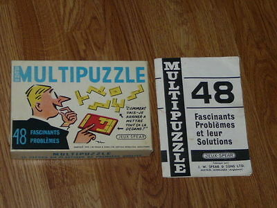 Vintage 1970's Spear's England Multi-Puzzle Game - Original Box & French Booklet