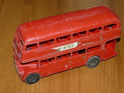 Vintage Plastic Double Decker Friction Bus - Made in England - 9'' inches long