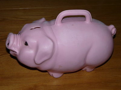 Vintage Plastic Piggy Bank by RELIABLE 12''½ inches long   Made in Canada