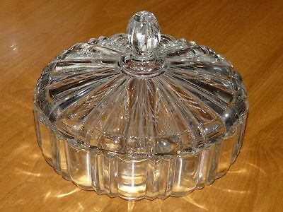 Very Nice Covered Clear Glass Candy Bowl