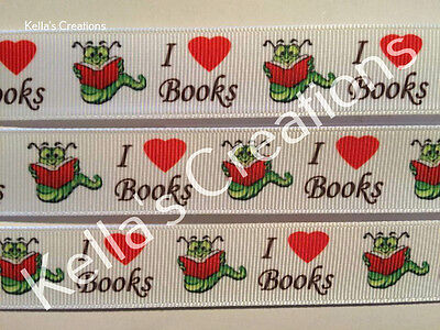 "I LOVE BOOKS grosgrain Ribbon 7/8"" Sold by 2 M - Craft - Lanyard, bookmarks"