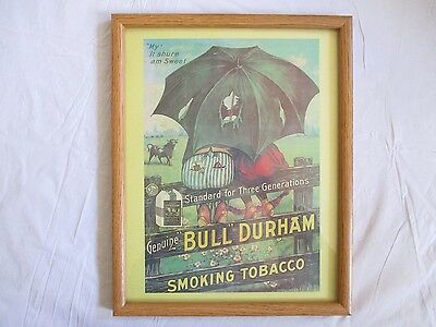 """Bull Durham Smoking Tobacco Sign,Poster Framed 11 3/4"""" X 14 3/4"""",Ex. Condition"""