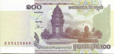 Cambodia 100 Riels 53 ~ Unc ~ 2002 Issue; Free Shipping Canada Or Usa P