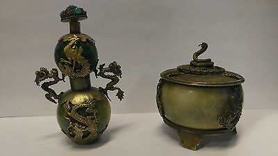 Lot of Vintage Chinese snuff bottle and incense burner Phoenix and dragon design