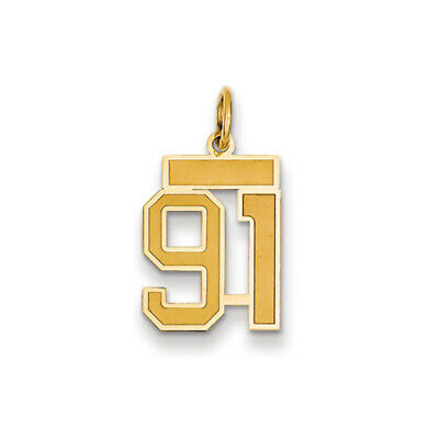 14k Yellow Gold, Jersey Collection, Small Number 91 Pendant