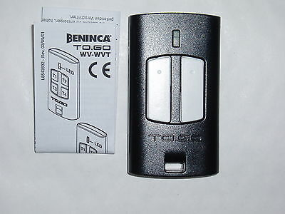1 x Beninca remote control, 2 button ''TO GO 2 WV'' FREE UK POST, NEW, 9863065
